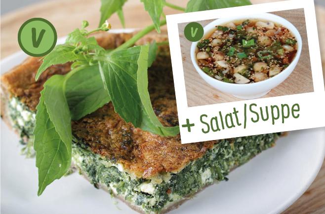 rita bringt 39 s spinat manouri quiche mit vogerlsalat suppe oder salat. Black Bedroom Furniture Sets. Home Design Ideas