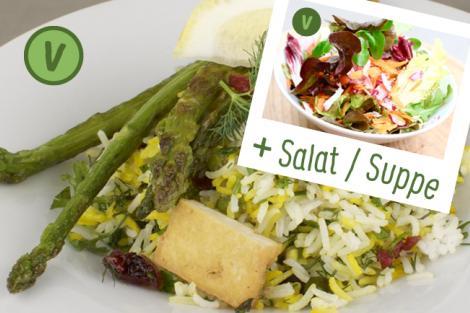 Menü Pilaw mit Grünspargel, Tofu und Zitronen-Joghurtdip
